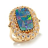 Rarities Opal Doublet and White Zircon Ring