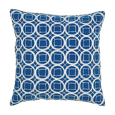 "18"" x 18"" Circles and Squares Pillow - Cobalt Blue/Whit"
