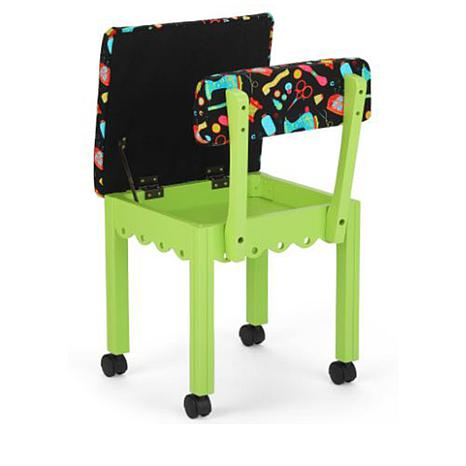 Arrow Sewing Chair with Seat Storage Green White