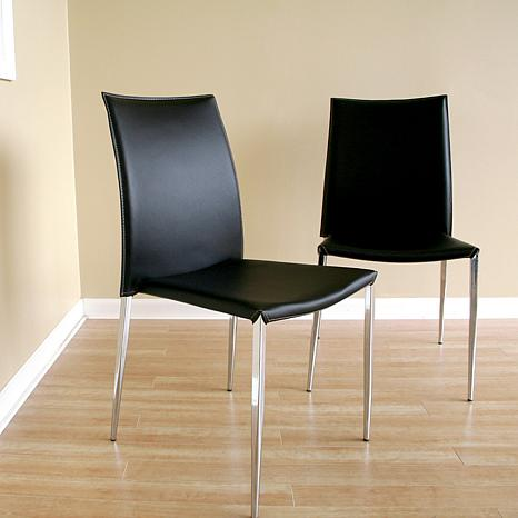 Benton Black Leather Dining Chairs Set of 2