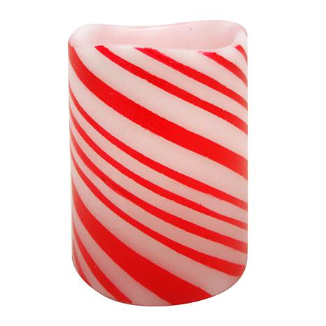 Flameless LED Candle with Candy Cane Stripes
