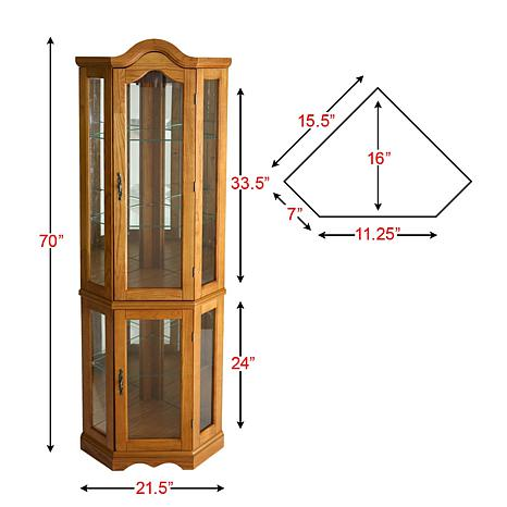 Lighted Corner Curio Cabinet Golden Oak  Hsn