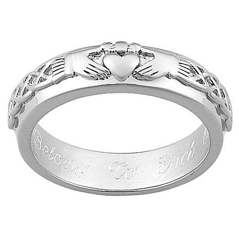 sterling silver engraved claddagh wedding band d 20100729191505593