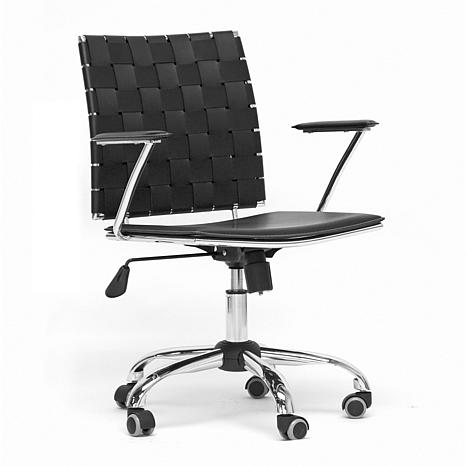 Vittoria white leather modern office chair 7092235 hsn for Modern leather office chairs