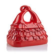 David's Cookies Red Ruffles Fashion Handbag Jar