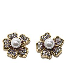 Heidi Daus Dogwood Flower Crystal Jacket Earrings