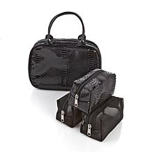 HSN 3-in-1 Cosmetic Case with 3 Interior Pouches