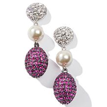 Joan Boyce All Pavé Crystal Egg-Shaped Drop Earrings