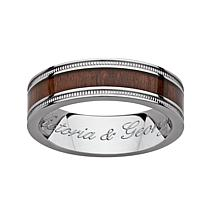 Men's Titanium and Wood Inlay Milgrain Engraved Band
