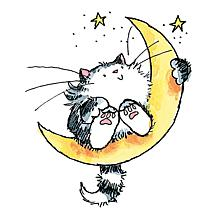 Penny Black Rubber Stamp - Cat On The Moon