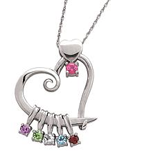 Sterling Silver Heart Slider Birthstone Pendant