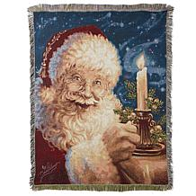 Winter Lane Christmas Candle Santa Tapestry Throw
