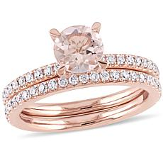 1.6ctw Morganite and Diamond  14K Rose Gold 2pc Set