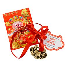 2016 Year of the Monkey Bronze Charm Coin with Ribbon