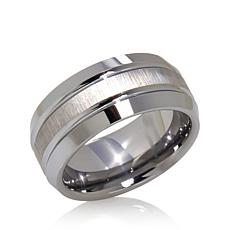 9mm Beveled Polished and Brushed Tungsten Band Ring