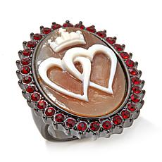 "AMEDEO ""King of Hearts"" 30mm Cameo Crystal Ring"