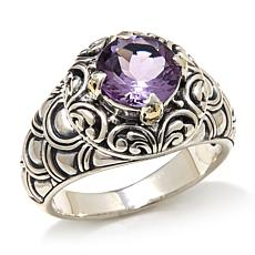 Bali Designs 1.5ctw Amethyst 2-Tone Scallop Ring