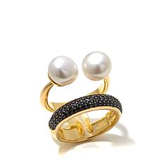 Bellezza Black Spinel and Cultured  Pearl 2-Tier Ring