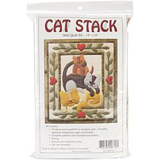 "Cat Stack 13"" x 15"" Wall Quilt Kit"