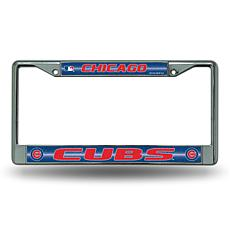 Chrome License Plate Frame with Bling - Chicago Cubs