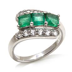 Colleen Lopez 1.3ct Emerald/Topaz Sterling Bypass Ring