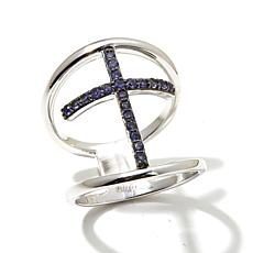 Colleen Lopez Gemstone Pavé Negative Space Cross Ring