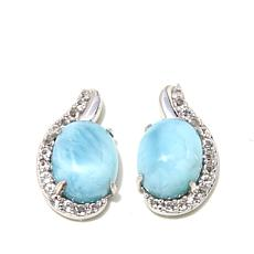Colleen Lopez Larimar and White Topaz Stud Earrings