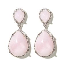 Colleen Lopez Pink Opal and White Topaz Pear Earrings