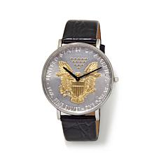 Croton U.S. Silver Dollar Leather Strap Watch