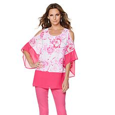 DG2 by Diane Gilman Floral Cold-Shoulder Chiffon Blouse