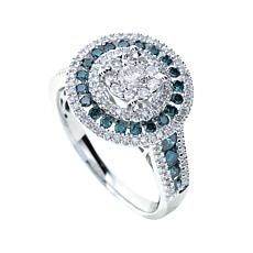 Diamond Couture 14K 1ct White & Blue Diamond Round Ring