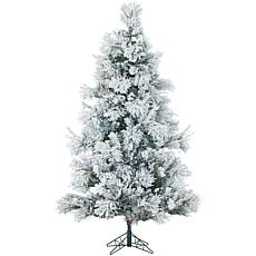 Flocked Snowy Pine 7-1/2' Christmas Tree with Lights