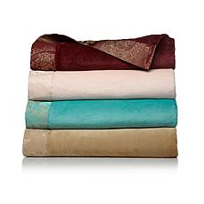Highgate Manor Madeleine Plush Jacquard Trim Blanket
