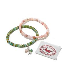 Jay King Amazonite and Pink Opal Bracelets with Charm