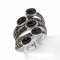 Marcasite and Black Agate Sterling Silver Bypass Ring
