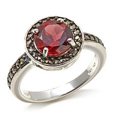 Marcasite and Garnet Round Sterling Silver Ring