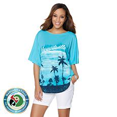 Margaritaville Palm Tree Screen Print Beach-Fit Tee