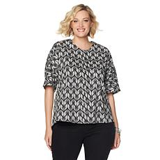 Melissa McCarthy Seven7 Skimmer Top with Pleated Back