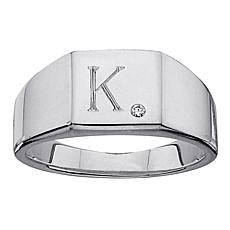 Men's Single Initial and 0.37ctw CZ Silver Signet Ring