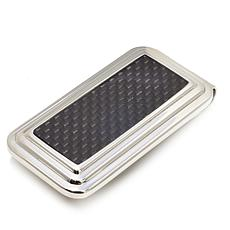 Men's Stainless Steel and Gray Carbon Fiber Money Clip