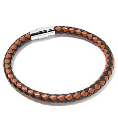 "Men's Stainless Steel Braided Leather 7-1/2"" Bracelet"