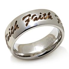 "Michael Anthony Jewelry® 2-Tone ""Faith"" Band Ring"