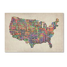"Michael Tompsett ""US Cities Text Map VI"" Art- 22"" x 32"""
