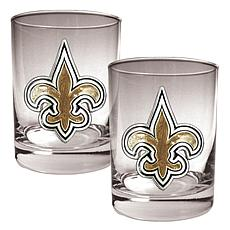 New Orleans Saints 2pc Rocks Glass Set
