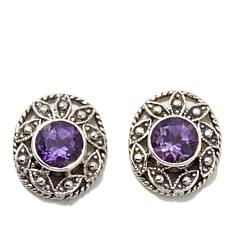 Nicky Butler 1.20ctw Amethyst Oval Leaf Stud Earrings