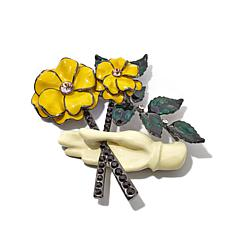 Rara Avis by Iris Apfel Flowers and Hand Brooch