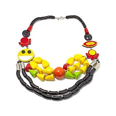 "Rara Avis by Iris Apfel Multicolor ""Smiley"" Necklace"