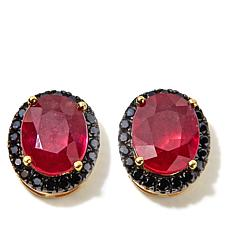 Rarities Ruby and Black Spinel Vermeil Stud Earrings