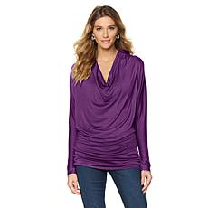 Rhonda Shear Cowl-Neck Long-Sleeve Tunic Top