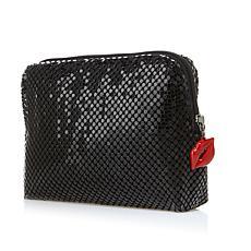 SCA Black Metallic Mesh Evening Bag with Red Lip Pull